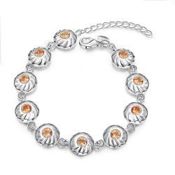 Vienna Jewelry Sterling Silver Petite Orange Citrine Sea-Shell Bracelet - Thumbnail 0