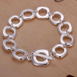 Vienna Jewelry Sterling Silver Hollow Square Surronding Bracelet - Thumbnail 0