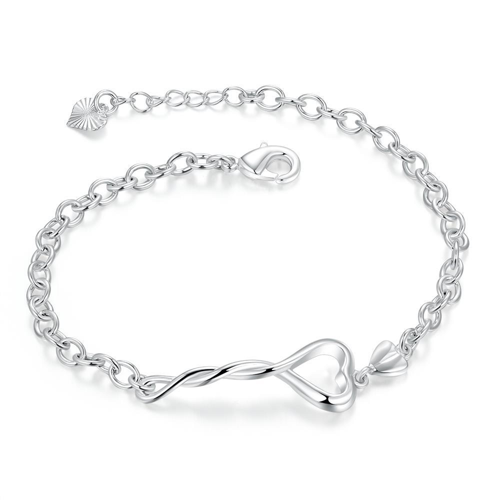 Vienna Jewelry Sterling Silver Intertwined Hollow Heart Chain Bracelet