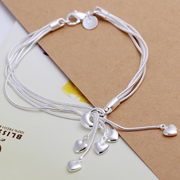 Vienna Jewelry Sterling Silver Multi Heart Dangling Bracelet