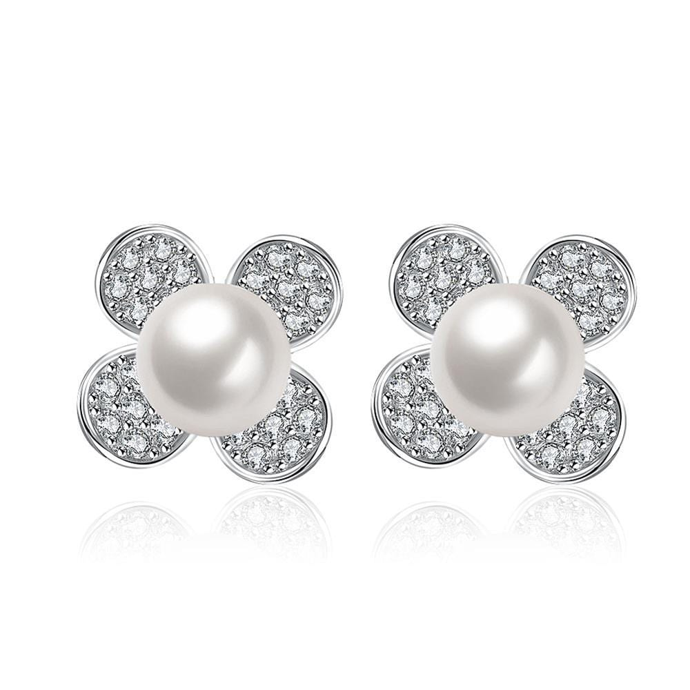 Vienna Jewelry Cultured Pearl Classic Clover Stud Earrings