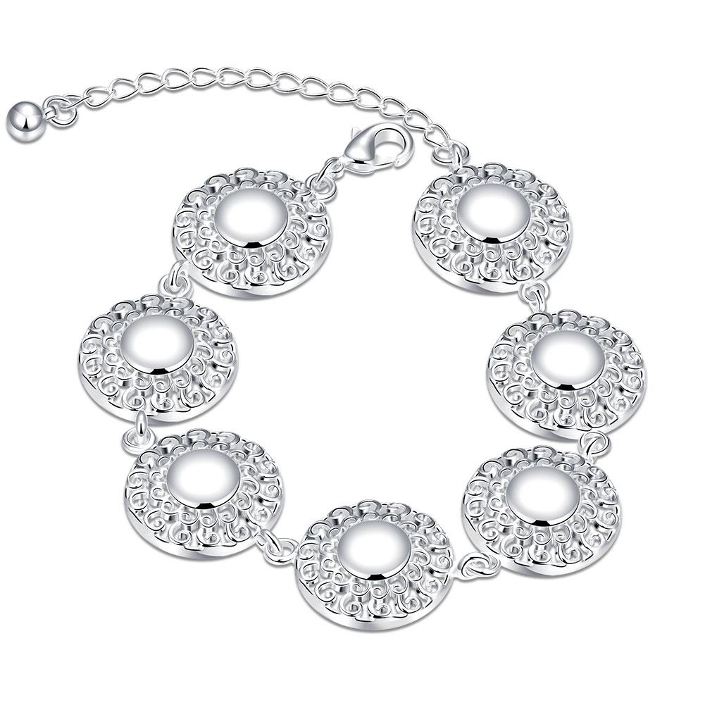 Vienna Jewelry Sterling Silver Multi Circular Emblem Bracelet - Thumbnail 0
