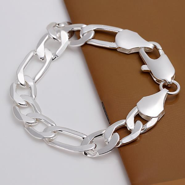 Vienna Jewelry Sterling Silver Thick Cut Chain Bracelet