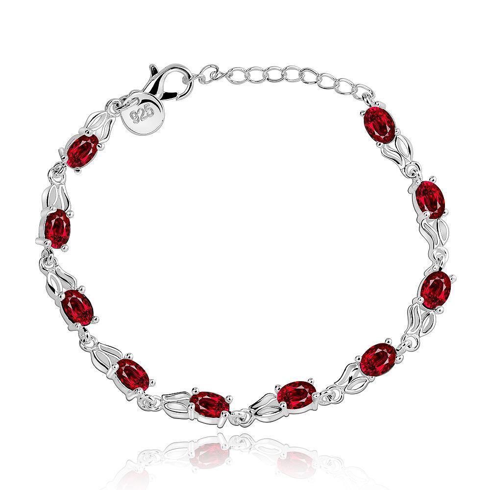 Vienna Jewelry Sterling Silver Multi Ruby Gem Bracelet