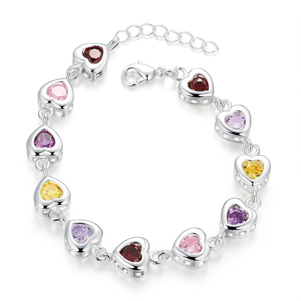Vienna Jewelry Sterling Silver Multi-Light Rainbow Gem Connecting Bracelet
