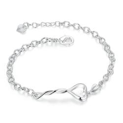 Vienna Jewelry Sterling Silver Intertwined Hollow Heart Chain Bracelet - Thumbnail 0