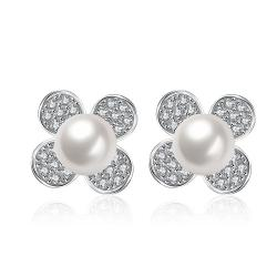 Vienna Jewelry Cultured Pearl Classic Clover Stud Earrings - Thumbnail 0