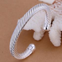Sterling Silver Modern Intertwined Bangle - Thumbnail 0
