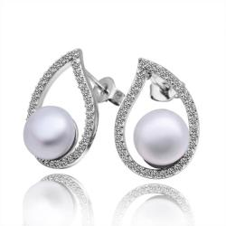 Vienna Jewelry Cultured Pearl Curved Emblem Stud Earrings - Thumbnail 0
