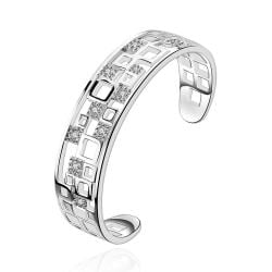 Sterling Silver Hollow Square Shaped Inspired Bangle - Thumbnail 0