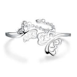 Sterling Silver Curved Hollow Butterfly Bangle - Thumbnail 0