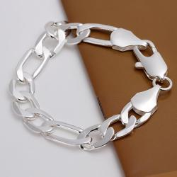 Vienna Jewelry Sterling Silver Thick Cut Chain Bracelet - Thumbnail 0