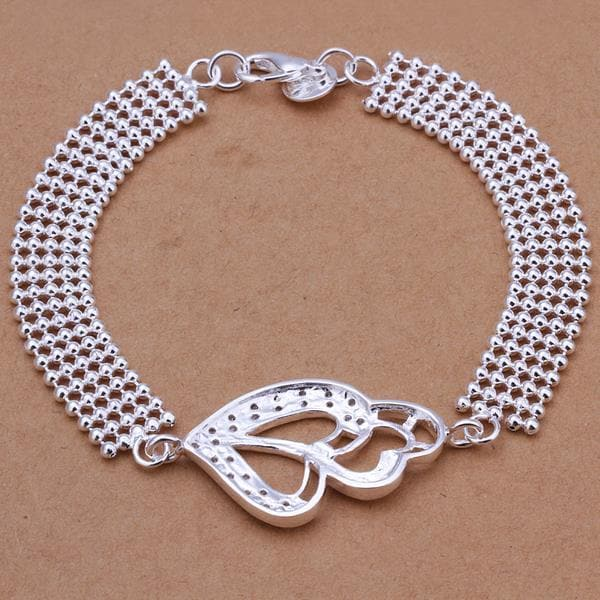 Vienna Jewelry Sterling Silver Multi Heart Connected Bracelet