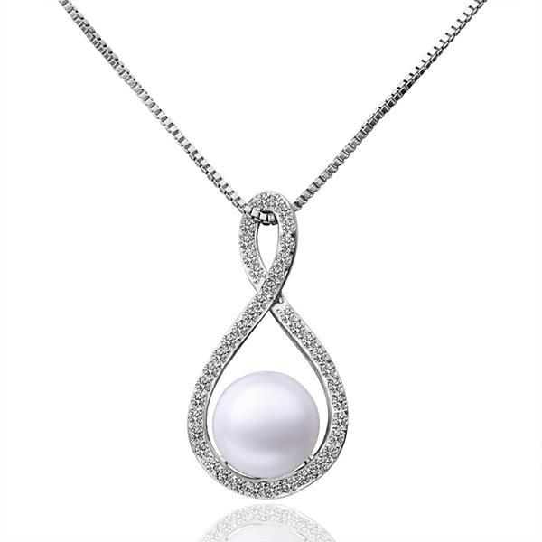 Vienna Jewelry White Gold Infinite Loop Cultured Pearl Pendant