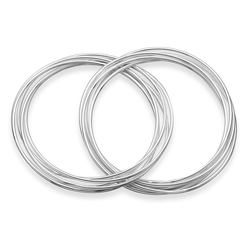Sterling Silver Multi Lined Double Bangle