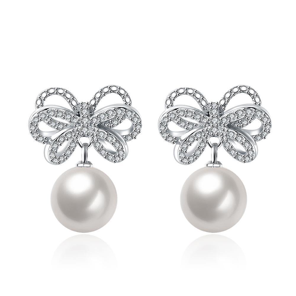 Vienna Jewelry Cultured Pearl Infinite Bow-Tie Earrings
