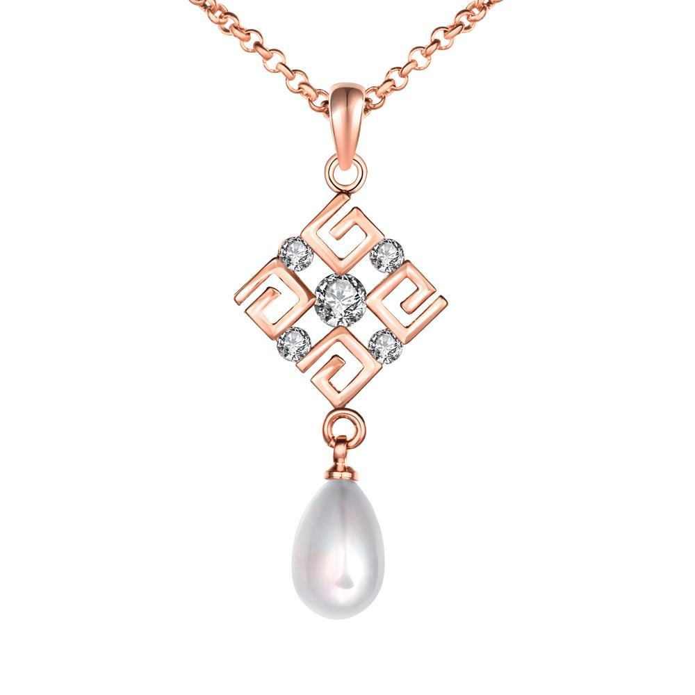 Vienna Jewelry Rose Gold Coloring Diamond Shaped Cultured Pearl Necklace