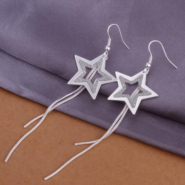 Vienna Jewelry Sterling Silver Drop Star Shaped Earring