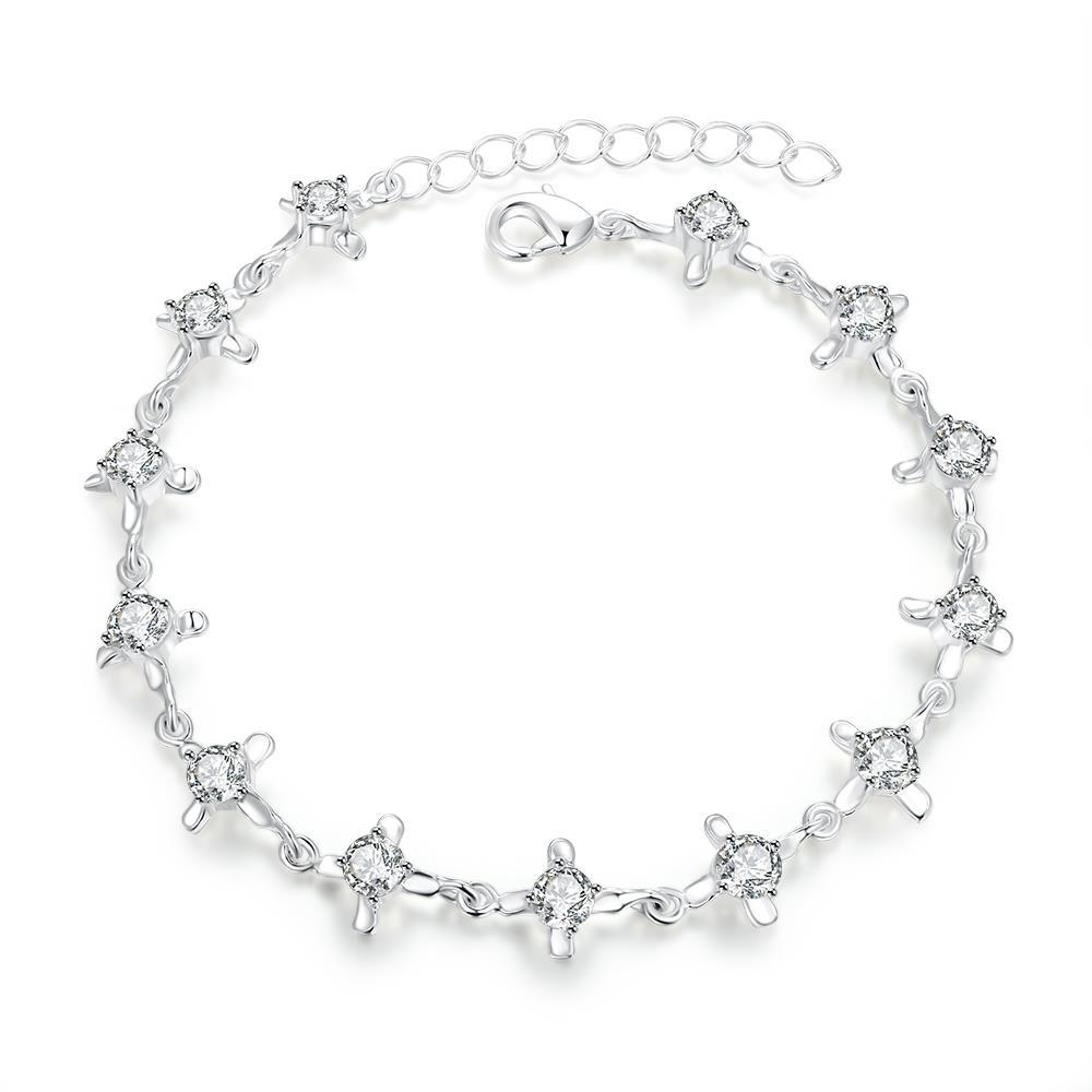 Vienna Jewelry Sterling Silver Curved Crystal Jewel Connecting Bracelet