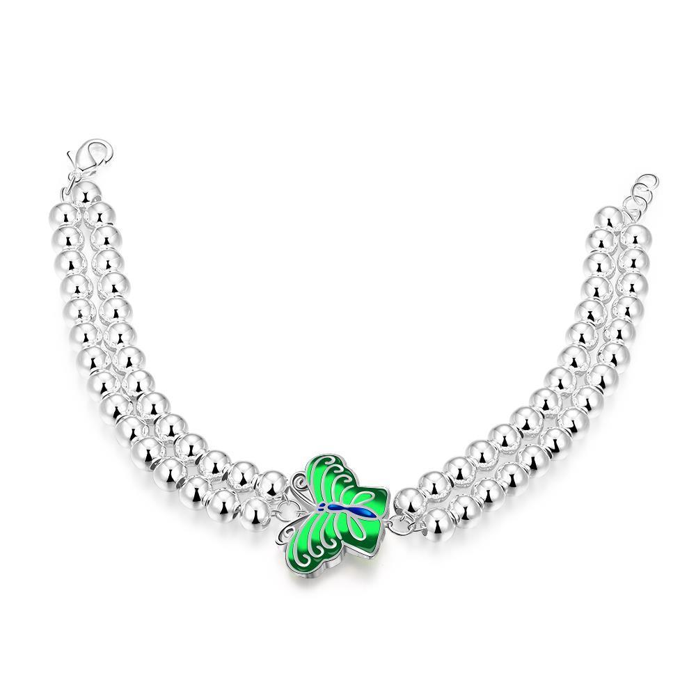 Vienna Jewelry Sterling Silver Pearl Bracelet with Petite Emerald Butterfly Emblem Bracelet