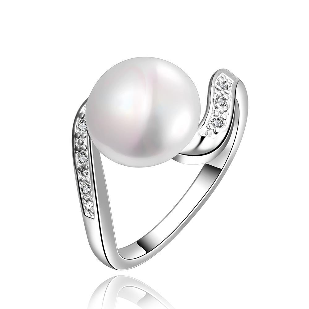Vienna Jewelry White Gold Plated Curved Cultured Pearl Ring