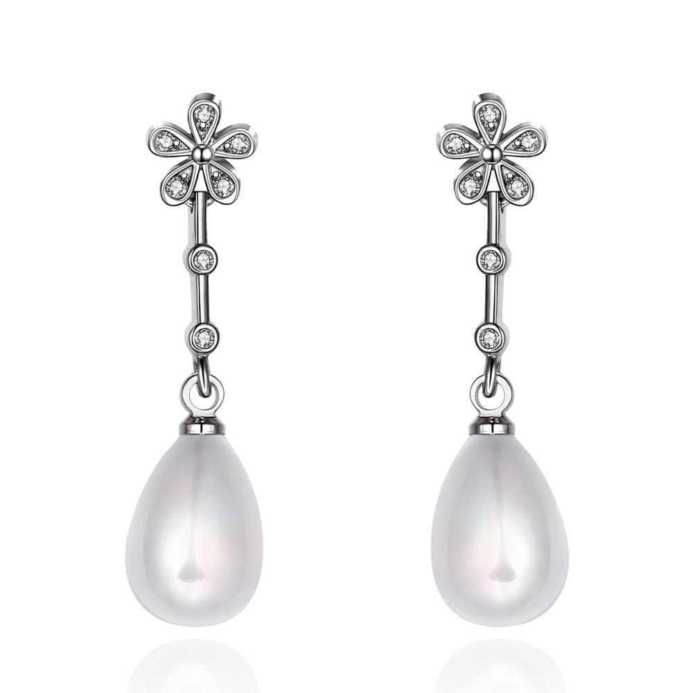 Vienna Jewelry Cultured Pearl Clover Stud Dangling Earrings