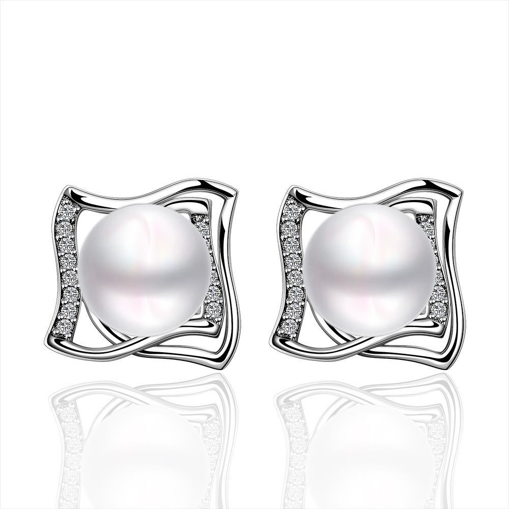 Vienna Jewelry Cultured Pearl Curved Square Stud Earrings