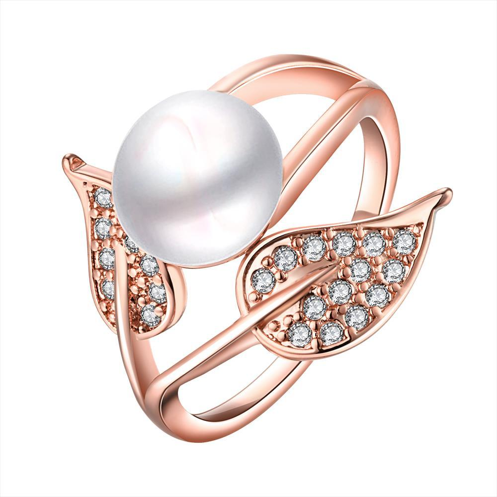 Vienna Jewelry Rose Gold Plated Cultured Pearl Duo-Leaf Ring