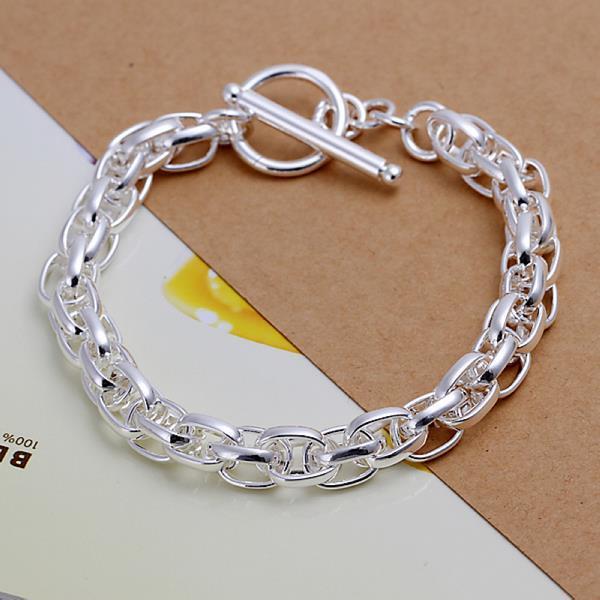 Vienna Jewelry Sterling Silver Multi-Chain Clasp Closure Bracelet