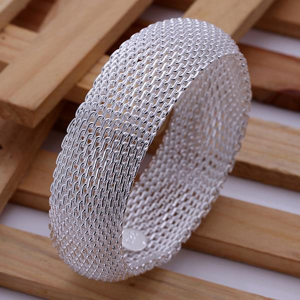 Vienna Jewelry Sterling Silver Large Classic Mesh Bangle