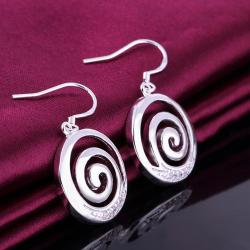 Vienna Jewelry Sterling Silver Swirl Pendant Drop Earring - Thumbnail 0