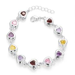 Vienna Jewelry Sterling Silver Multi-Light Rainbow Gem Connecting Bracelet - Thumbnail 0