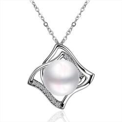 Vienna Jewelry White Gold Plated Diamond Shaped Cultured Pearl Classic Pendant