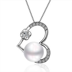 Vienna Jewelry White Gold Plated Cultured Pearl Petite Heart Shaped Pendant