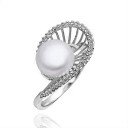 Vienna Jewelry White Gold Plated Cultured Pearl Sea-Shell Ring - Thumbnail 0