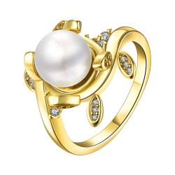 Vienna Jewelry Gold Plated Cultured Pearl Leaf Inserts Ring - Thumbnail 0
