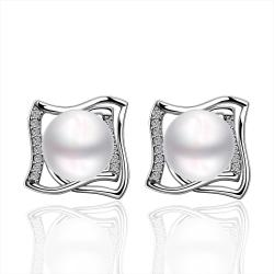 Vienna Jewelry Cultured Pearl Curved Square Stud Earrings - Thumbnail 0