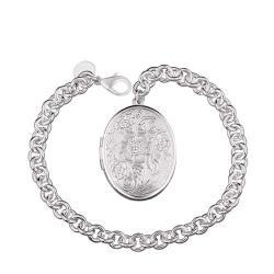 Vienna Jewelry Sterling Silver Petite Circular Emblem Bracelet - Thumbnail 0