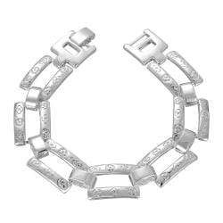 Vienna Jewelry Sterling Silver Hollow Square Connecting Bracelet - Thumbnail 0