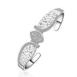 Sterling Silver Laser Cut Floral Inspired Bangle - Thumbnail 0