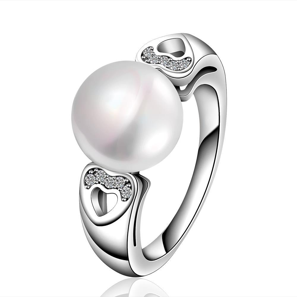 Vienna Jewelry White Gold Plated Cultured Pearl Hearts Infused Ring