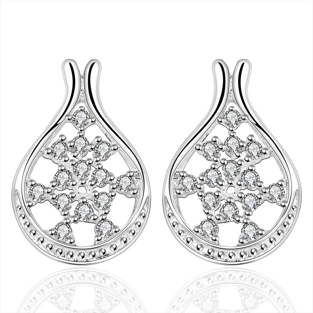 Vienna Jewelry Sterling Silver Curved Hoop Crystal Stone Earring