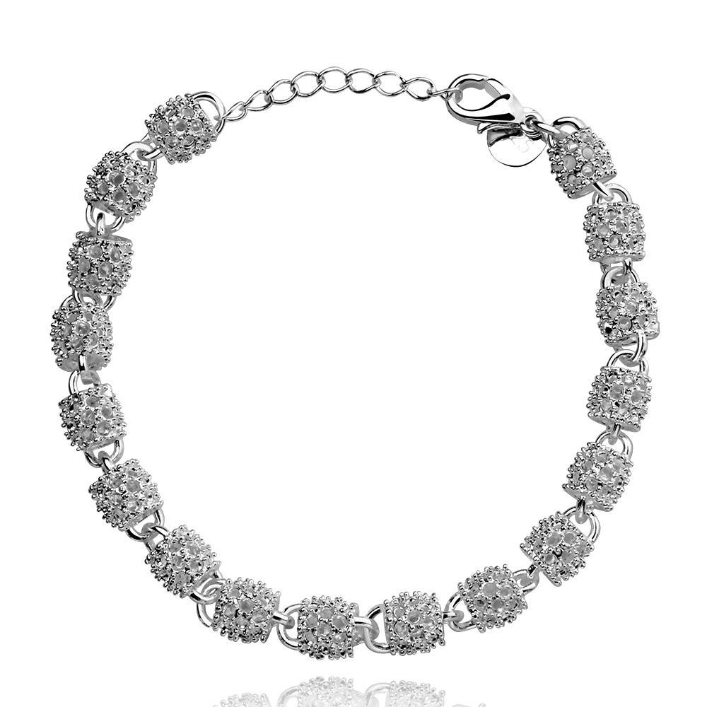 Vienna Jewelry Sterling Silver Pav'e Crystal Connecting Bracelet