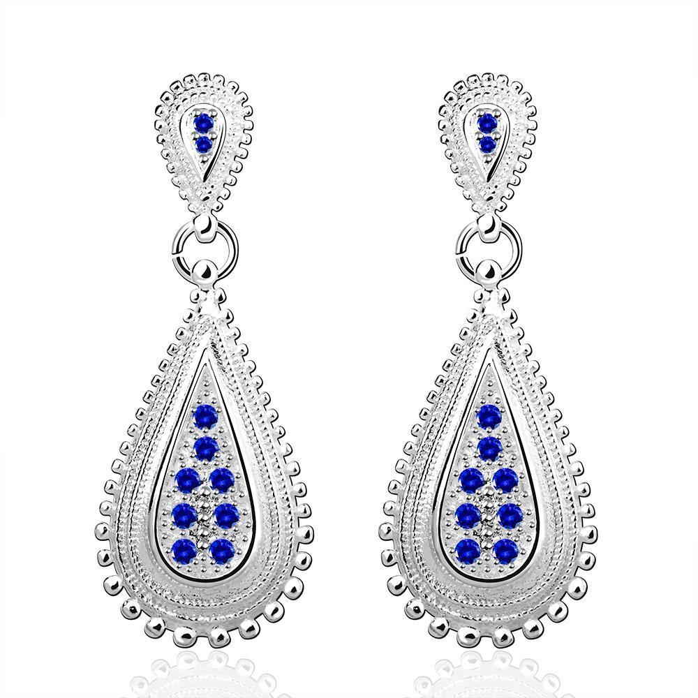 Vienna Jewelry Sterling Silver Modern Laser Cut Sapphire Tear Drop Earring