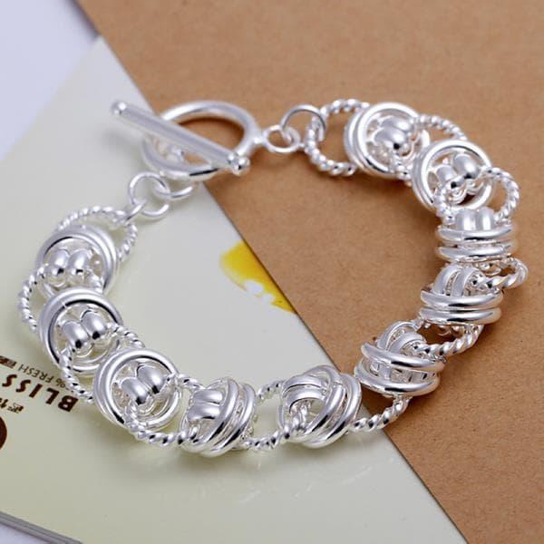 Vienna Jewelry Sterling Silver Circular Surronding Clasp Closure Bracelet