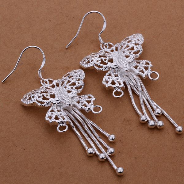 Vienna Jewelry Sterling Silver Drop Butterfly Earring