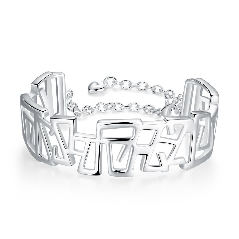Sterling Silver Multi Hollow Square Bangle