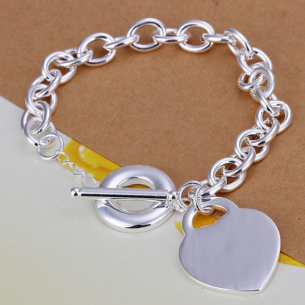 Vienna Jewelry Sterling Silver Heart Shaped Emblem Clasp Closure Bracelet