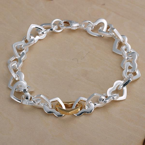 Vienna Jewelry Sterling Silver Petite Curved Heart Shaped Bracelet
