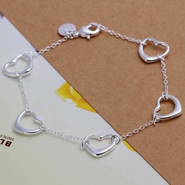 Vienna Jewelry Sterling Silver Connecting Hearts Bracelet